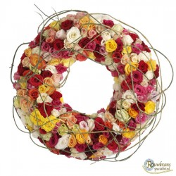 Rouwkrans mix rozen