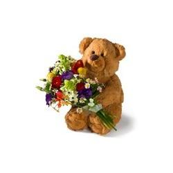 rouwboeket beer met bloemen