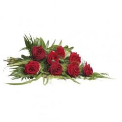 rouwboeketje rode rozen